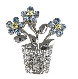 Picture of Forget-me-not Flowerpot Brooch 2.5cm high