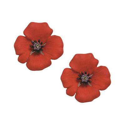 Picture of Passion Poppy Large Clip-on Earrings 2.5cm diameter