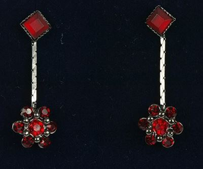 Picture of Red Flower Drop Earrings