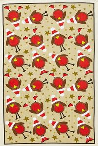 Picture of Christmas Robins Linen Tea Towel