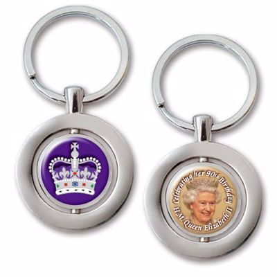 Picture of The Queen at 90 Double-sided Keyring