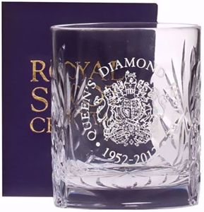 Royal Scot Crystal Diamond Jubilee Engraved Crest Kintyre Double Tot Glass