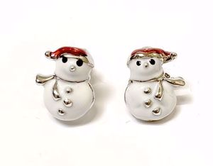 Snowman Stud Earrings 1cm high